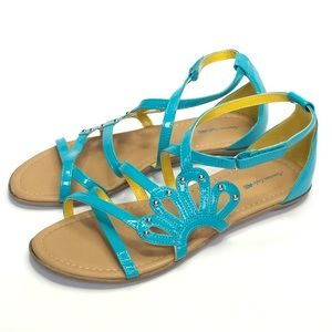 American Eagle Flat Teal Green Sandals size 5